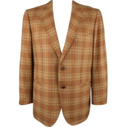 Borrelli 44 Brown & Gold Plaid Cashmere Sport Coat found on MODAPINS from 1stDibs for USD $366.10