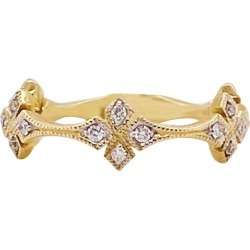 Diamond Clover Band 14 Karat Gold Fashion Diamond Stackable Band 0.16 Carat found on Bargain Bro India from 1stDibs for $1899.00