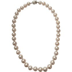 White Cultured Pearl Necklace With Gold Clasp