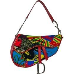 Dior Saddle Shoulder Bag In Red Cotton