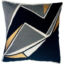 Modern Geometric Detroit Black Hand Embroidered Throw Pillow Cover found on Bargain Bro Philippines from 1stDibs for $128.00