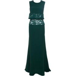 Elie Saab Green Crepe Lace Insert Sleeveless Maxi Dress Xs found on MODAPINS from 1stDibs for USD $1747.00