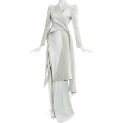 John Galliano Dove Grey Moire Silk Wrap Jacket And High Slit Skirt Suit, Ss 1995 found on MODAPINS from 1stDibs for USD $36081.83