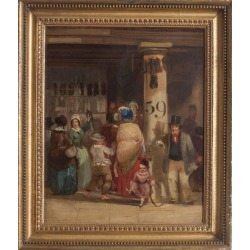 Unknown, 19th Century British oil painting of townsfolk bustling in a marketplace found on Bargain Bro India from 1stDibs for $1535.07