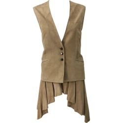 Emanuel Ungaro 1990s Tan Suede Leather Size 42 / 8 Dip Hem Vintage 90s Vest Top found on MODAPINS from 1stDibs for USD $1160.00