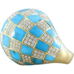 Diamond Turquoise Checkered Dome Ring found on Bargain Bro India from 1stDibs for $14600.00