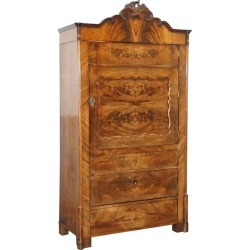 Very Rare Stunning Full Sized Walnut Victorian Drinks Cabinet And Internal Light