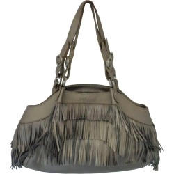 Hogan Metallic Silver Leather With Fringes Shoulder Bag found on MODAPINS from 1stDibs for USD $520.38