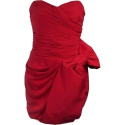 Marchesa Notte Lipstick Red Cocktail Dress With Bow Size 6 found on MODAPINS from 1stDibs for USD $395.00
