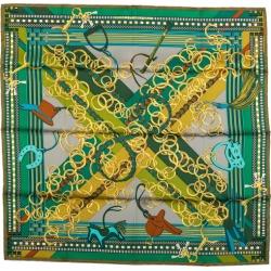 Hermes Bag Charms Green Silk Scarf