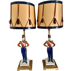 Pair Of German Porcelain Soldier Lamps On Bronze Mounts With Drummer Shades found on Bargain Bro India from 1stDibs for $1800.00