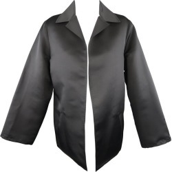 Dusan Size M Black Silk Satin Collared Open Front Jacket found on MODAPINS from 1stDibs for USD $180.60
