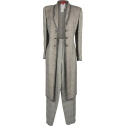 Emanuel Ungaro Pant Suit Long Line Jacket Black White Window Pane 12 Nwt found on MODAPINS from 1stDibs for USD $675.00