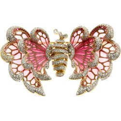 Diamond Pink Sapphire Enamel 18 Karat Yellow Gold Butterfly Brooch found on Bargain Bro India from 1stDibs for $21780.00