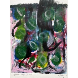 A.muse, Flower Vase, Monotype, Contemporary Abstract Color Work on Paper, Edition of 1, 2020