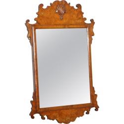 Rare Georgian Burr Walnut Circa 1730 George Ii Wall Hanging Mirror Rare Find
