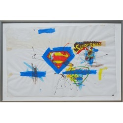 Fabrice Dupr�, Superman Series Painting On Paper, Circa 2004