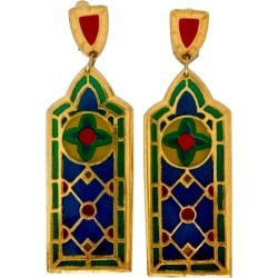Vintage Jean Xavier Duhart Cathedral Stained Glass Window Earrings