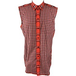 Givenchy Size M Red & Black Plaid Cotton Button Up Sleeveless found on Bargain Bro from 1stDibs for USD $173.43