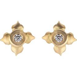 Diamond Stud Earrings In Lotus Flower Motif
