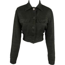 Ralph Lauren Size 4 Black Woven Linen Cropped Trucker Jacket found on Bargain Bro from 1stDibs for USD $242.06