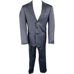 Borrelli Size 40 Navy Stripe Wool Notch Lapel Suit found on MODAPINS from 1stDibs for USD $760.00