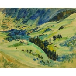 Jean-Baptiste Grancher, French Watercolor - Alpine Foothills , 1947 found on Bargain Bro Philippines from 1stDibs for $450.00