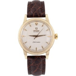 Omega Yellow Gold Automatic Seamaster Men's Watch With Leather Band found on MODAPINS from 1stDibs for USD $2000.00