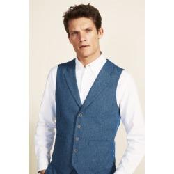 Moss 1851 Tailored Fit Blue Herringbone Waistcoat found on Bargain Bro UK from Moss Bros Retail