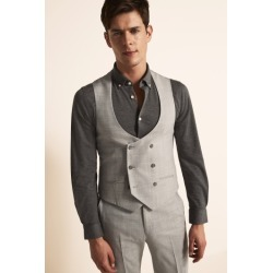 Ted Baker Slim Fit Light Grey Crepe Waistcoat found on Bargain Bro UK from Moss Bros Retail