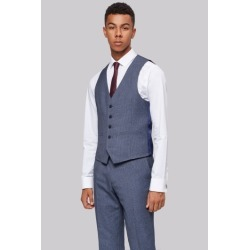 Moss London Skinny Fit Light Blue Texture Waistcoat found on Bargain Bro UK from Moss Bros Retail