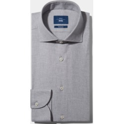 Moss 1851 Tailored Fit Grey Single Cuff Brushed Cotton Shirt found on Bargain Bro UK from Moss Bros Retail