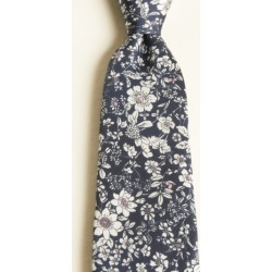 Moss 1851 Navy with Pink & White Flower Print Silk Twill Tie found on Bargain Bro UK from Moss Bros Retail