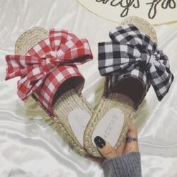 Plaid Espadrille Slide Sandals