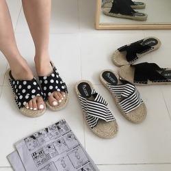 Cross-Strap Slide Espadrille Sandals