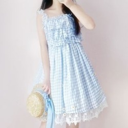 Sleeveless Plaid A-Line Dress / Straw Hat found on Bargain Bro India from yes style for $21.90