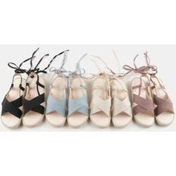Lace-Up Denim Espadrille Sandals