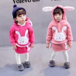 Kids Set: Applique Hooded Pullover + Inset Skirt Leggings