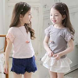 Kids Set: Lace Trim Short-Sleeve T-Shirt + Eyelet Lace Shorts