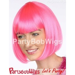 PartyBobWigs - Deluxe Capless Party Bob Wig - Neon Pink Neon Pink - One Size