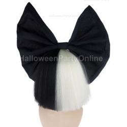 Party Wig - SIA Black & White Shy Wig Black Bow Black / White - One Size