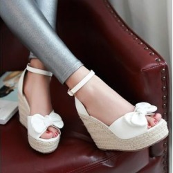 Bow Ankle Strap Espadrille Wedge Sandals