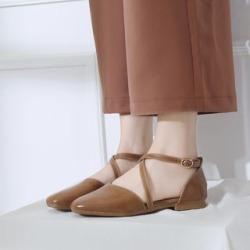 Square-Toe Cross Strap Sandals