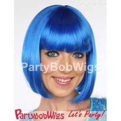 PartyBobWigs - Deluxe Capless Party Bob Wig - Blue Blue - One Size