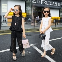Kids Set: Lace Sleeveless Top + Lace Boot Cut Pants