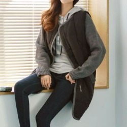 Knit-Sleeve Quilted Long Jacket