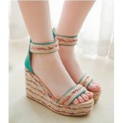 Ankle-Strap Espadrille Platform Wedge Sandals