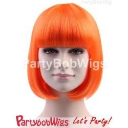 PartyBobWigs - Party Short Bob Wig - Orange Orange - One Size