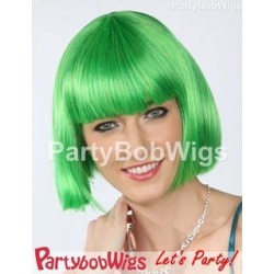 PartyBobWigs - Deluxe Capless Party Bob Wig - Green Green - One Size