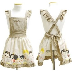 "Set: ""ddung"" Series Kids Apron + Pouch Beige - One Size"